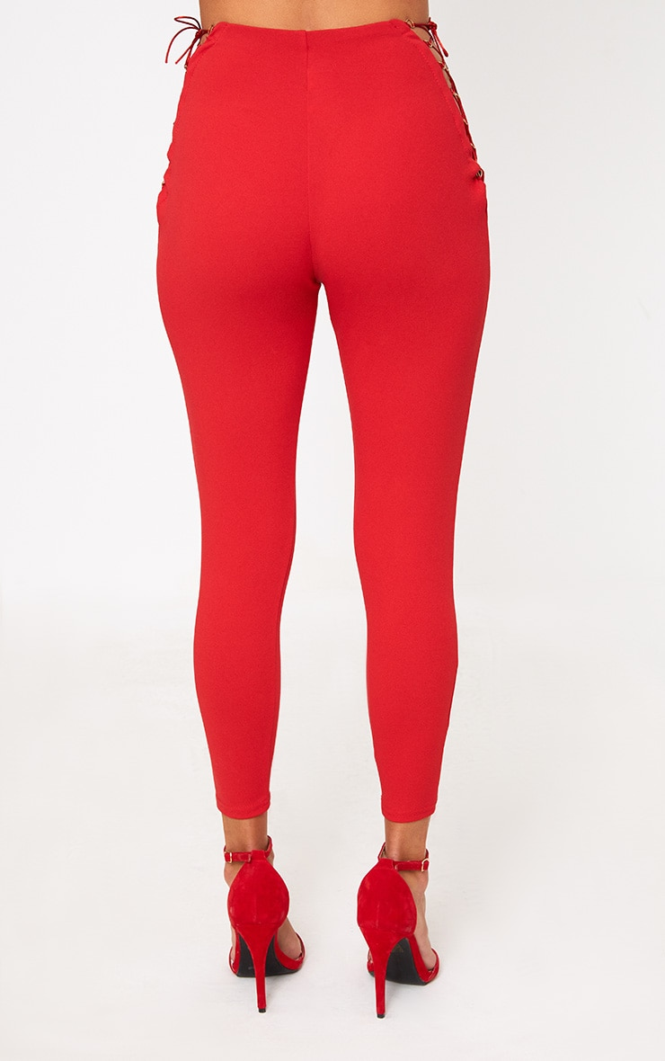 Red Lace Up Insert Skinny Trousers 2