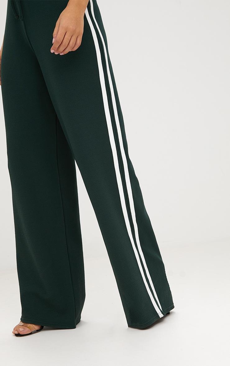 Emerald Green Wide Leg Contrast Stripe Track Pants  5