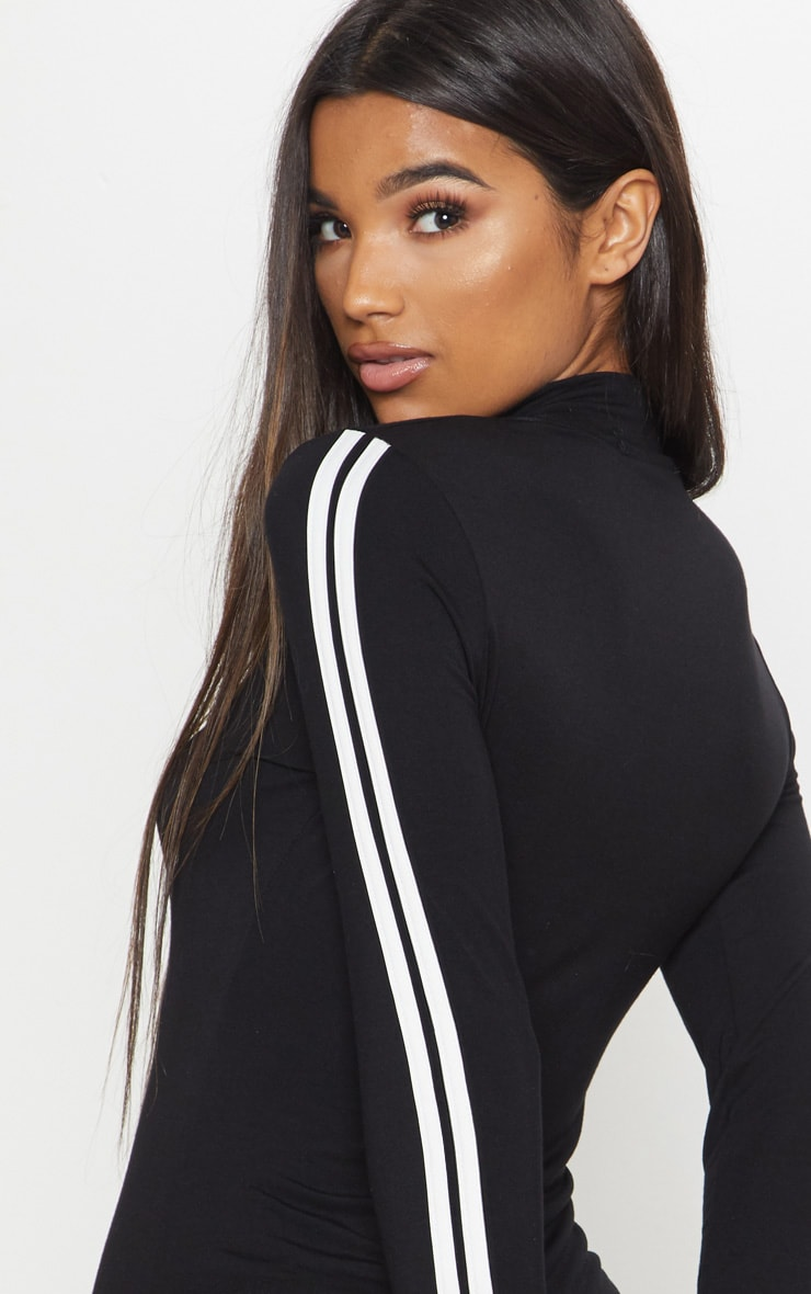 Black High Neck Stripe Long Sleeve Bodysuit 2