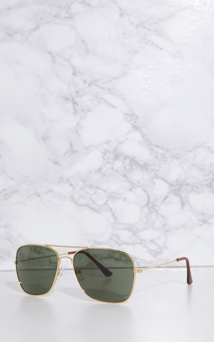 Gold Basic Square Metal Sunglasses 2