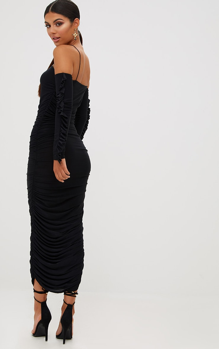 Black Ruched Cold Shoulder Midi Dress 3
