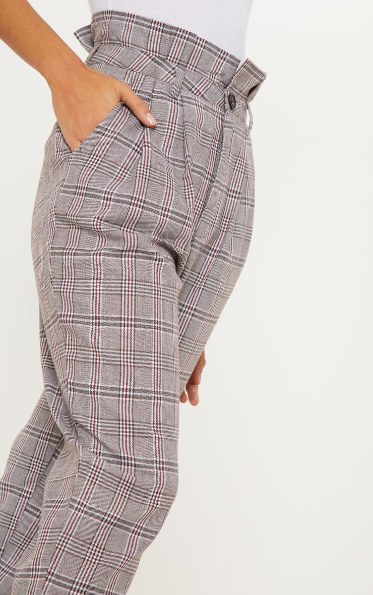 Chocolate Check Paperbag Trouser 5