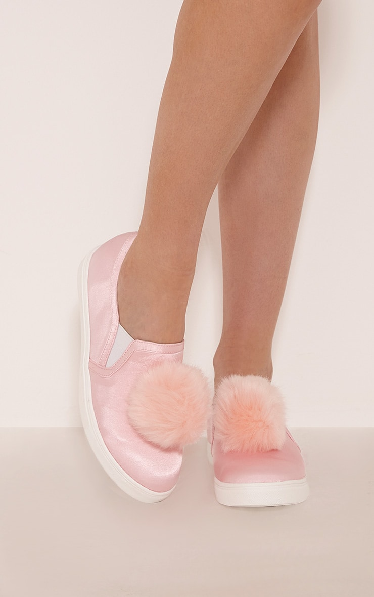 Anabella Baby Pink Satin Pom Pom Detail Slip On Trainers 1