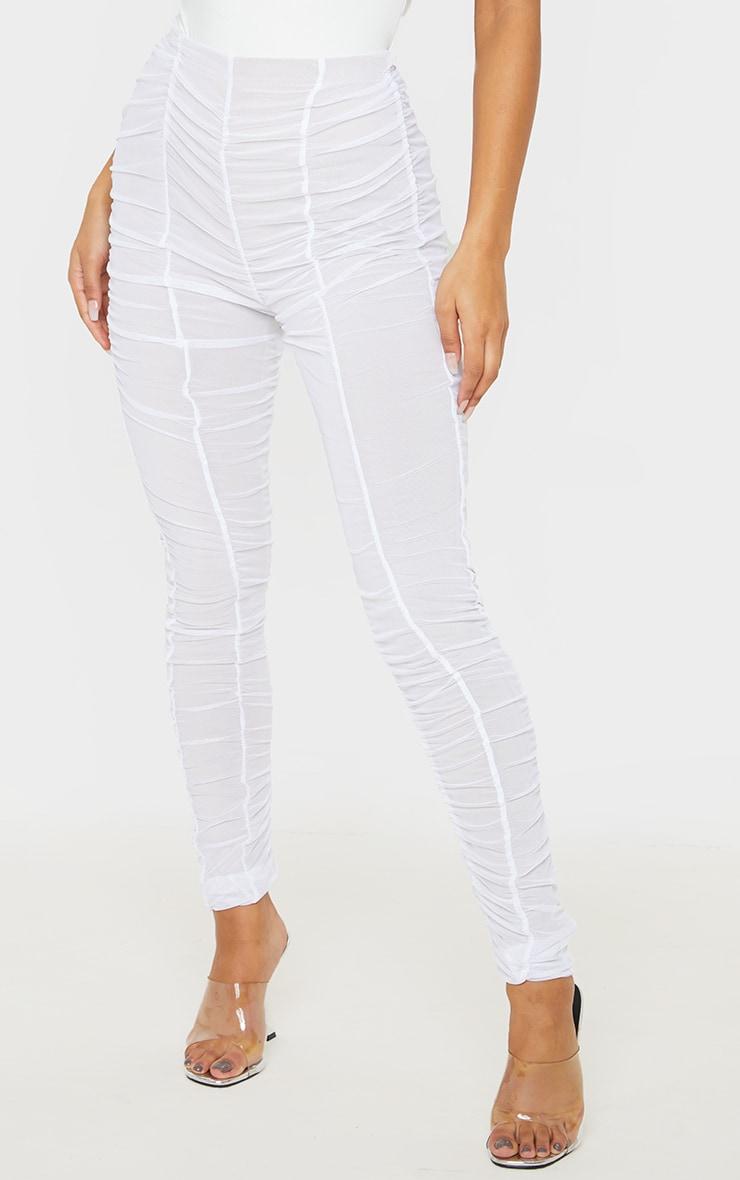 White Ruched Mesh Layered Pants 2
