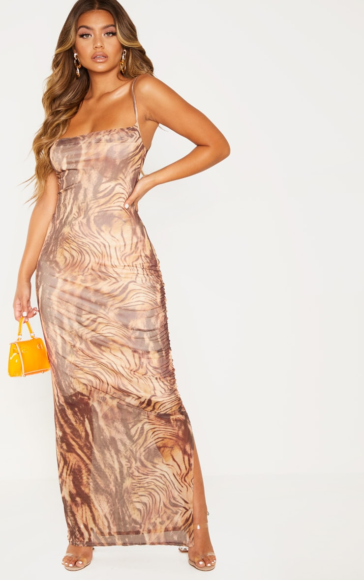Brown Printed Mesh Ruched Maxi Dress 1