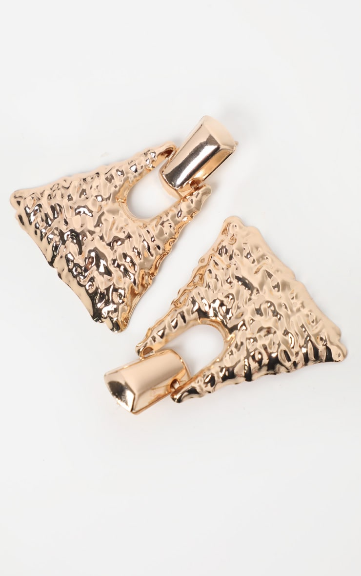 Gold Hammered Triangle Shaped Doorknocker Earrings 3