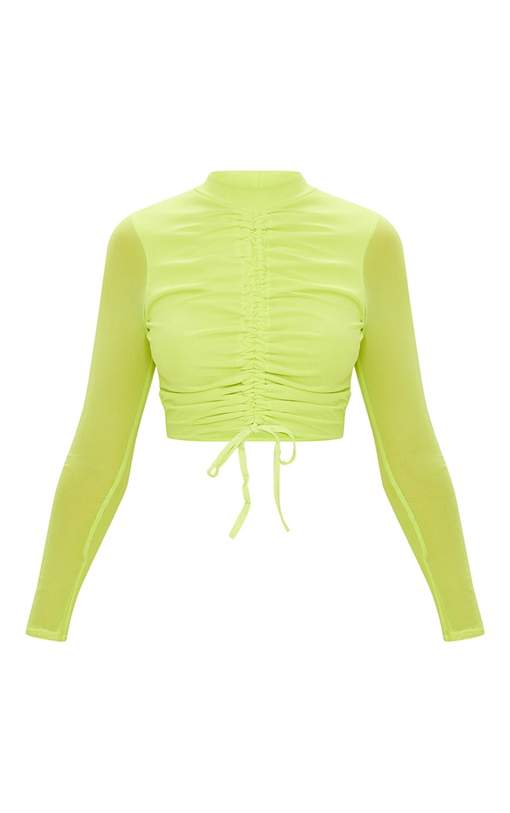 Lime Mesh Ruched Front Long Sleeve Crop Top 3