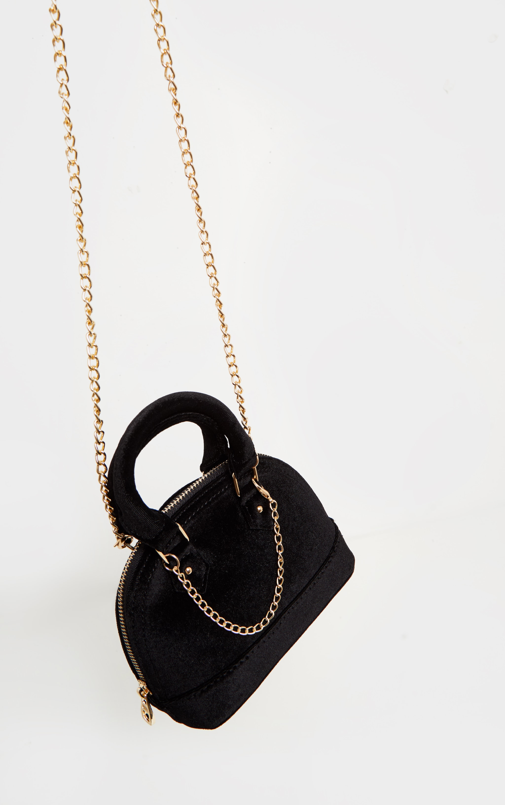 Black Velvet Chain Trim Mini Bag 3