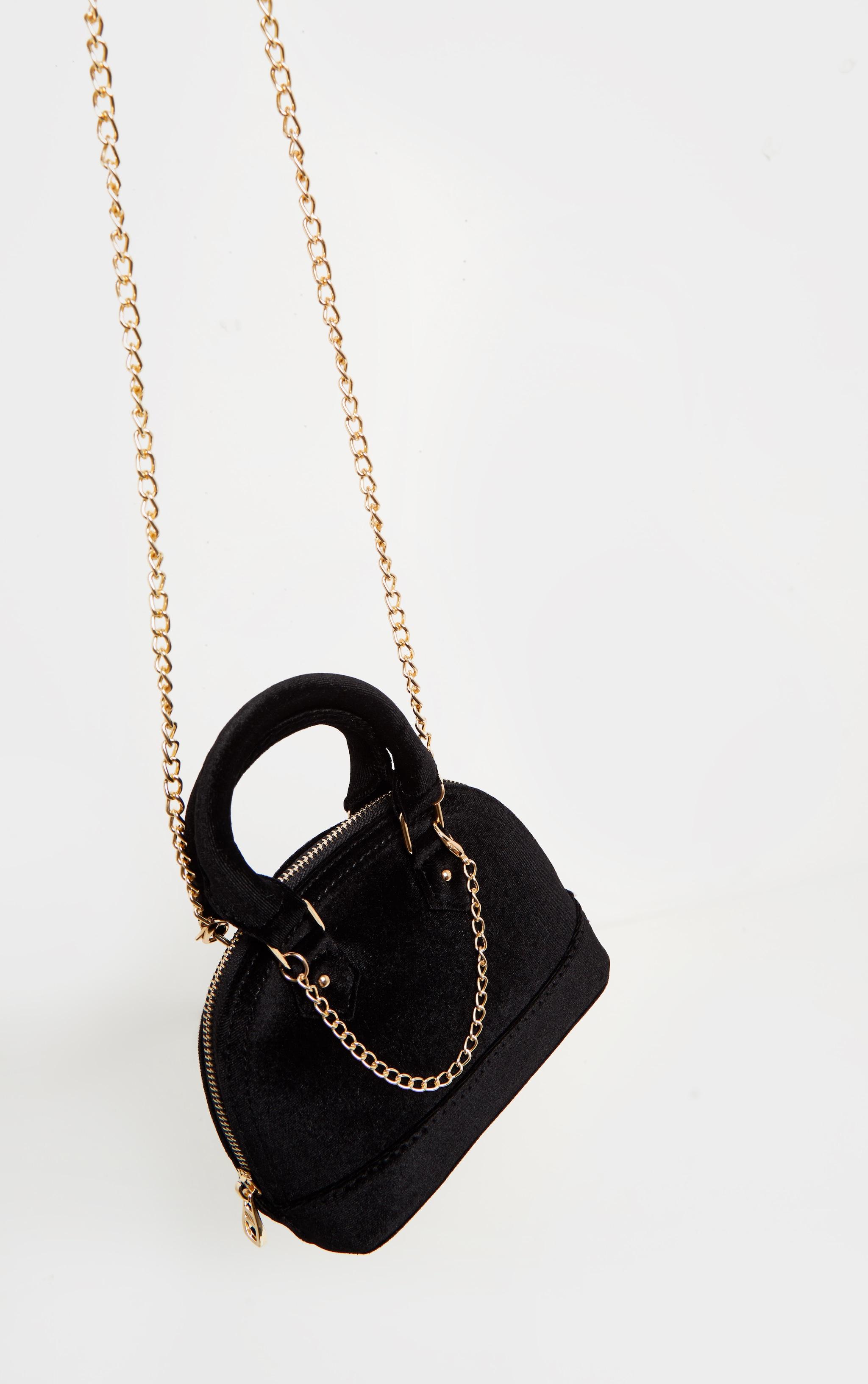 Black Velvet Chain Trim Mini Bag 3