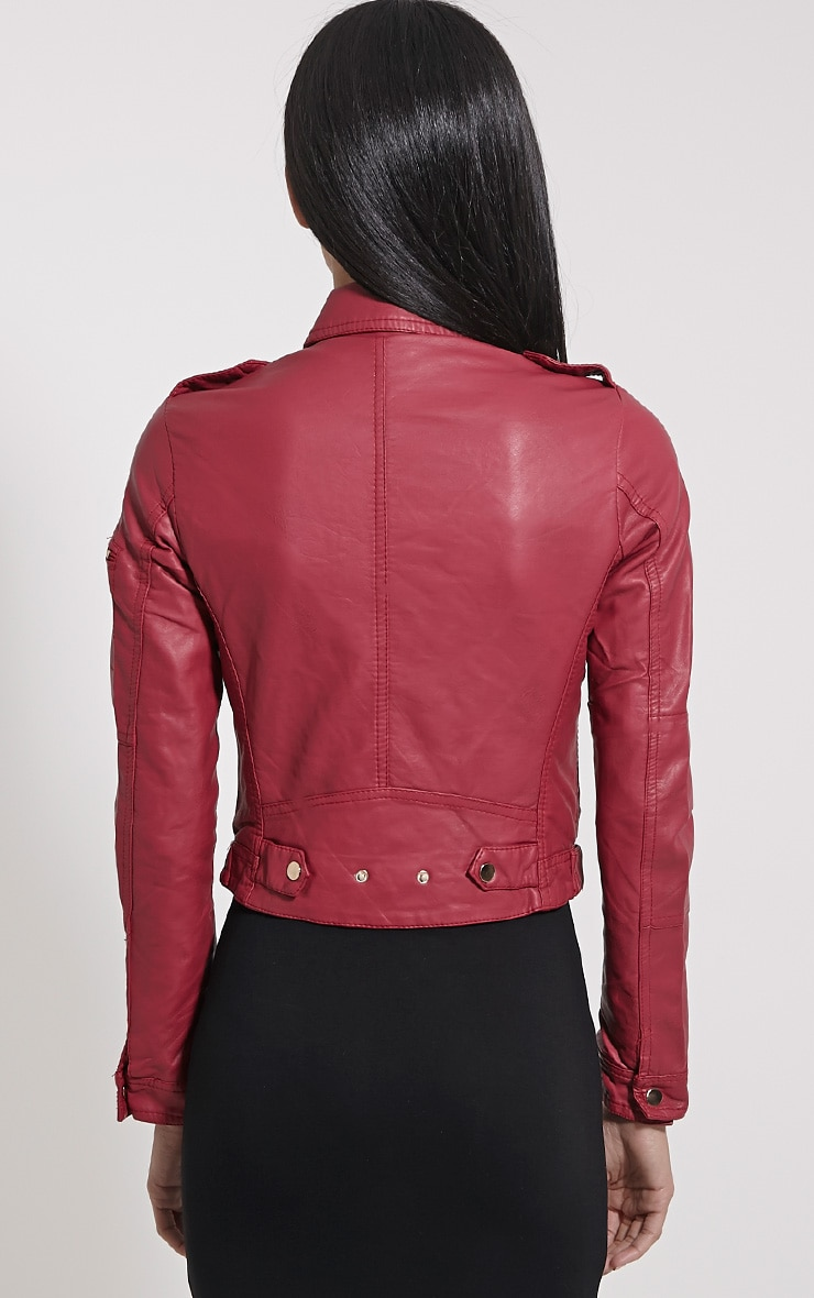 Blake Burgundy Faux Leather Biker Jacket 2