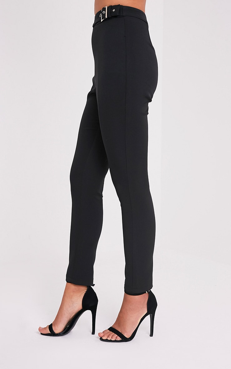 Oria Black Buckle Side Cigarette Trousers 5