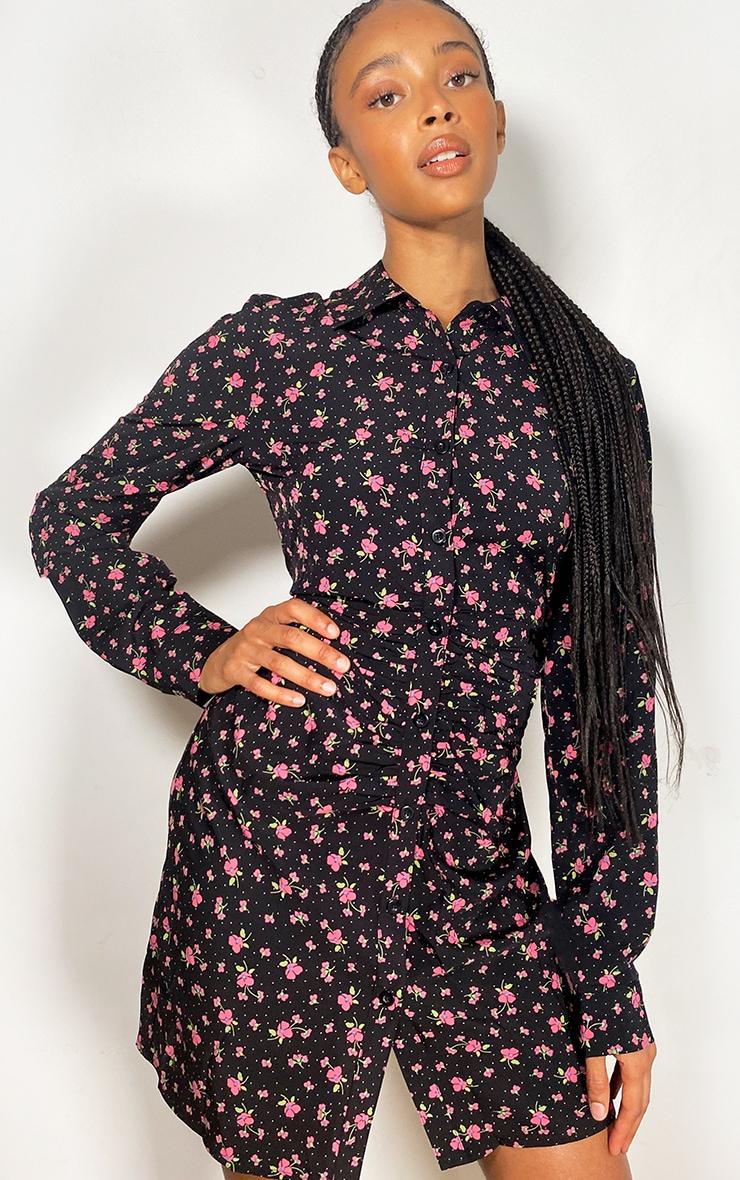 Black Floral Print Button Up Ruched Shirt Dress 1