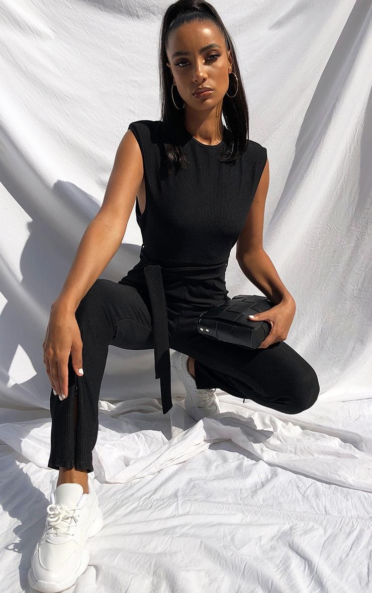 Black Thick Rib Zip Hem Shoulder Pad Sleeveless Jumpsuit 4