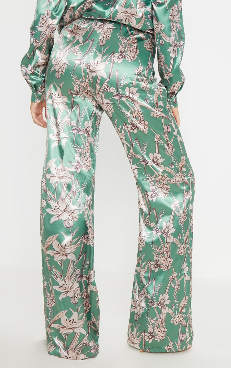 Green Satin Floral Wide Leg Trouser 4
