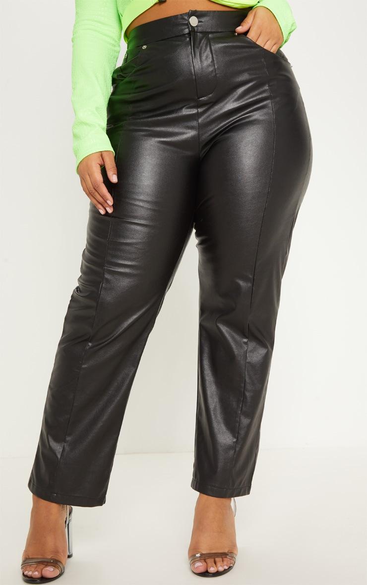 Plus Black Faux Leather Straight Leg Pants 2