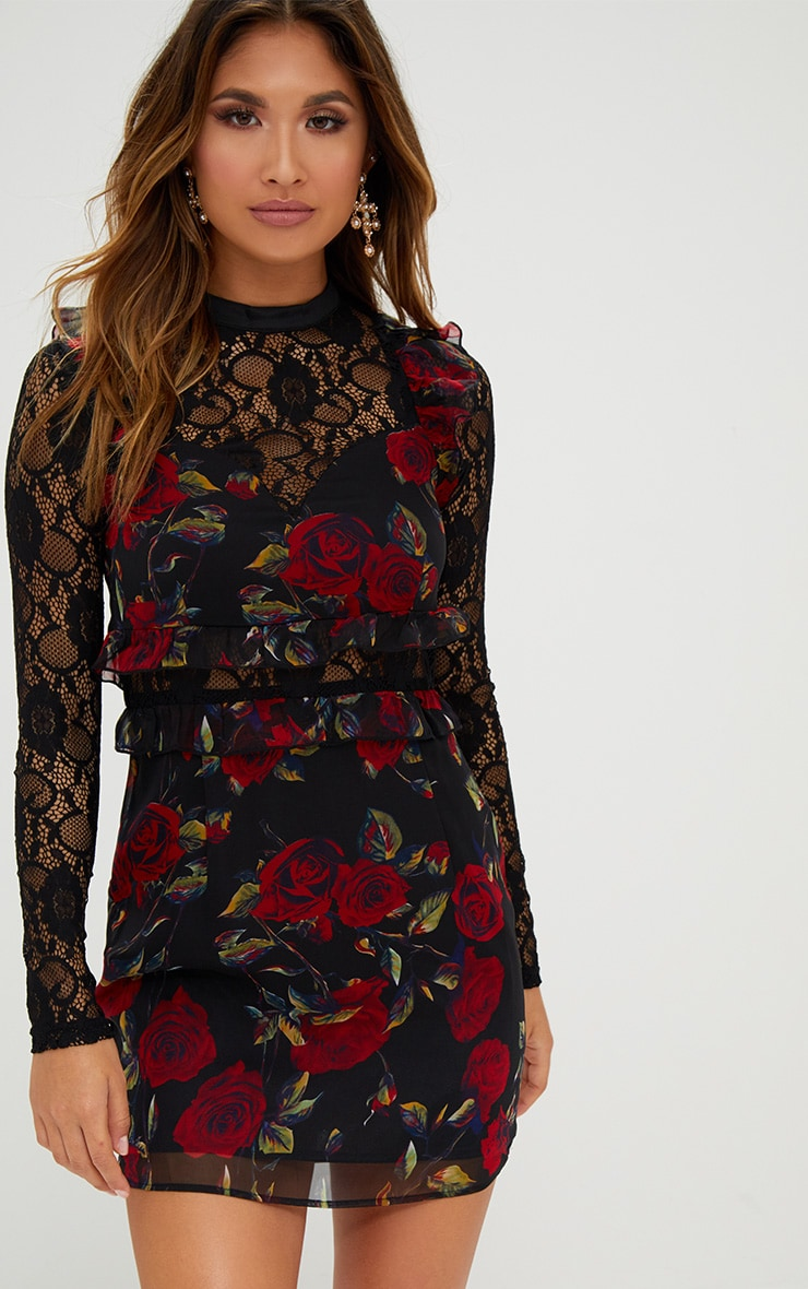 Black Lace Sleeve Floral Bodycon Dress 1