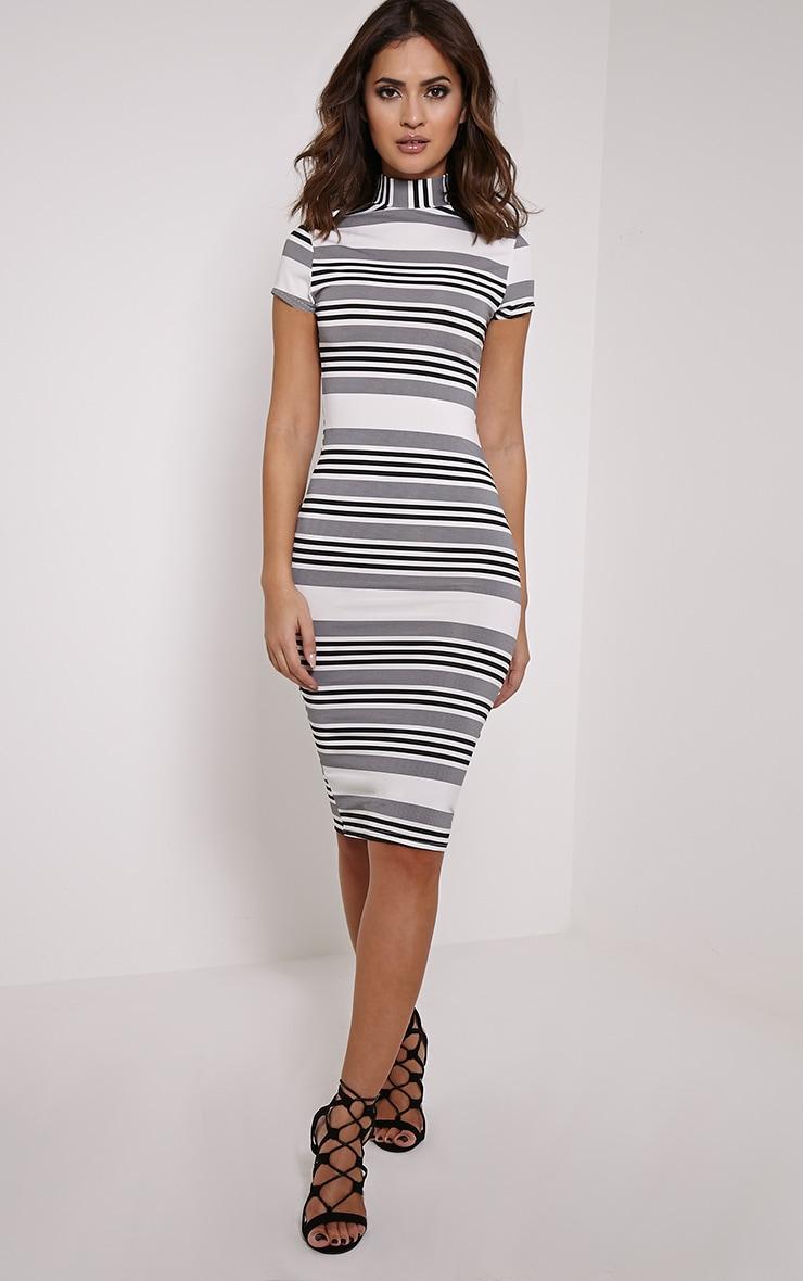 Kamala Black Monochrome Stripe Midi Dress 3