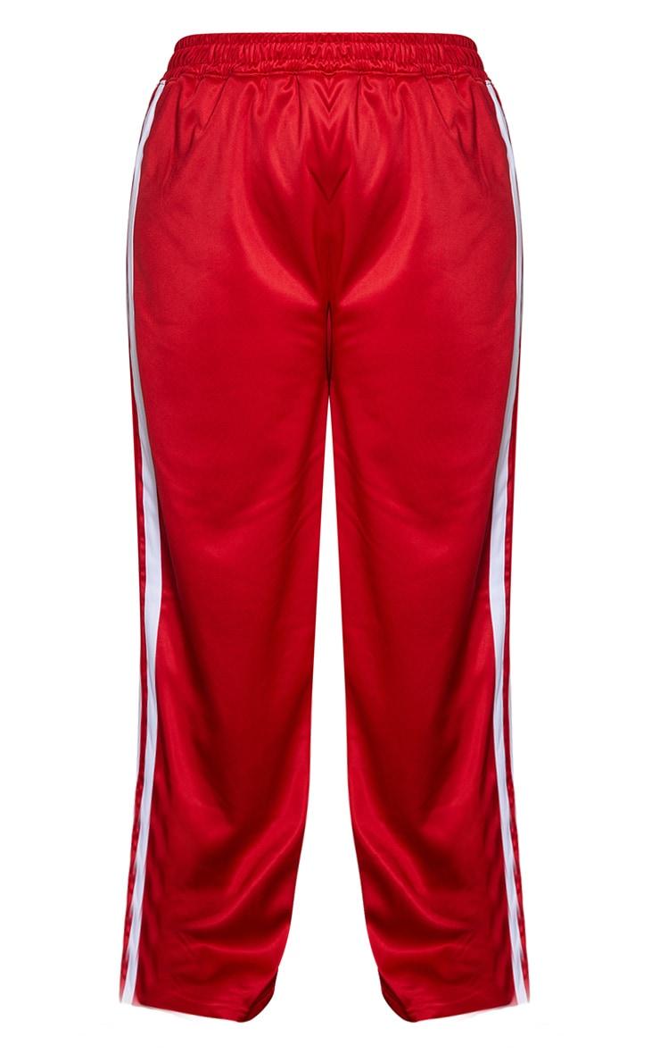 Plus Red Sports Stripe Wide Leg Joggers 5