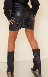 Black Detailed Faux Leather Ruched Mini Skirt 3