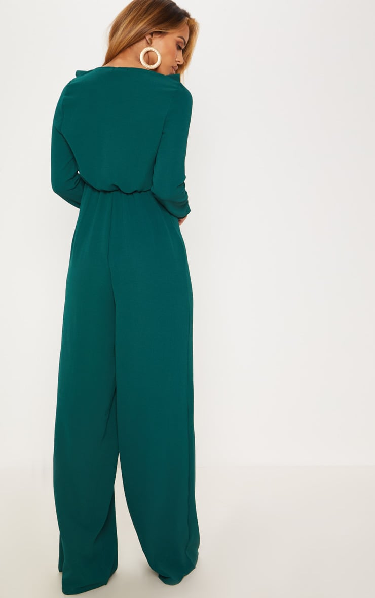 Petite Emerald Green Long Sleeve Frill Tie Front Jumpsuit 2