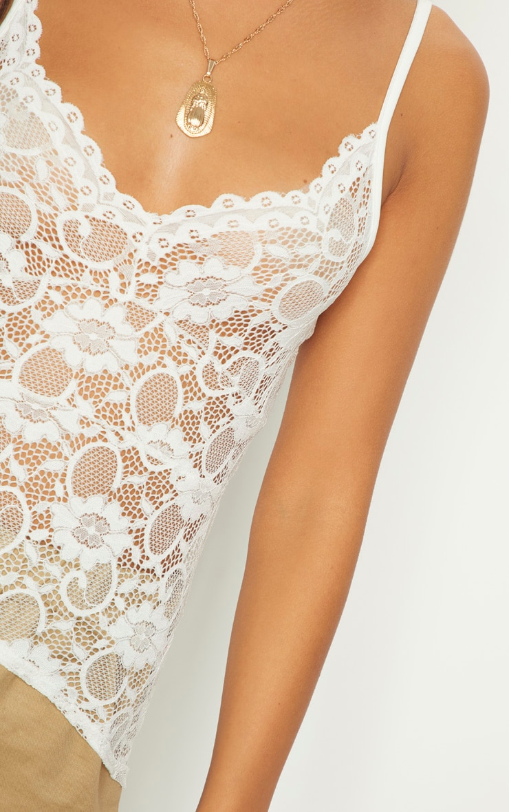 White Sheer Lace Cami Top  5