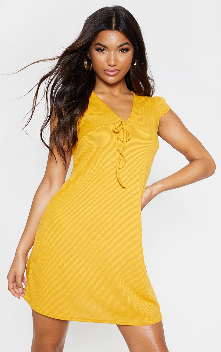Mustard Tie Rib Cap Sleeve Swing Dress 4