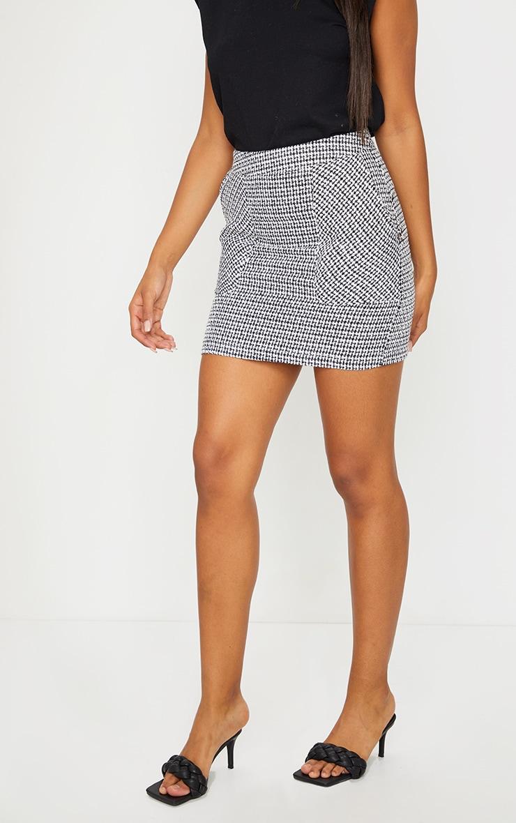 Black Tweed Pocket Detail Mini Skirt 2