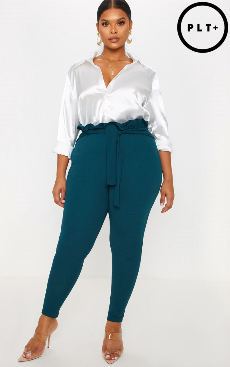 Plus Emerald Green Paperbag Skinny Trousers