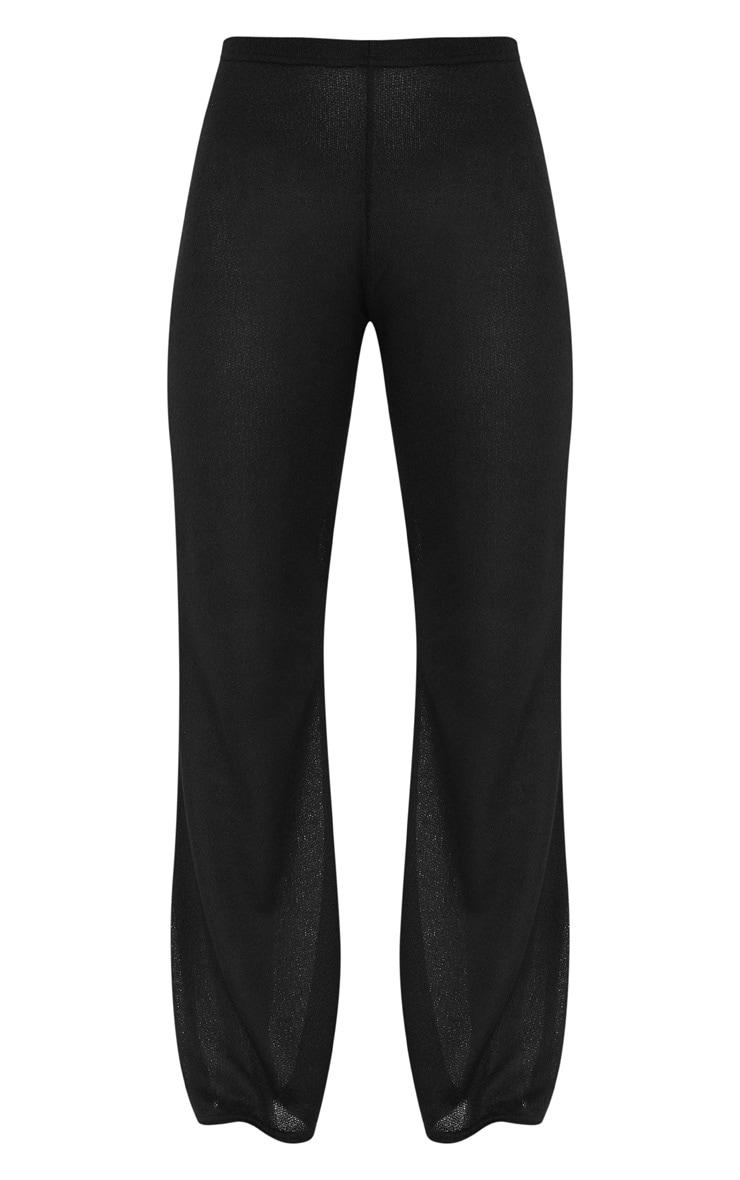 Black Lightweight Knit Wide Leg Trouser 3