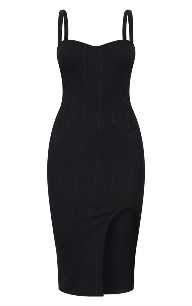 Black Bandage Lace Up Back Midi Dress 3
