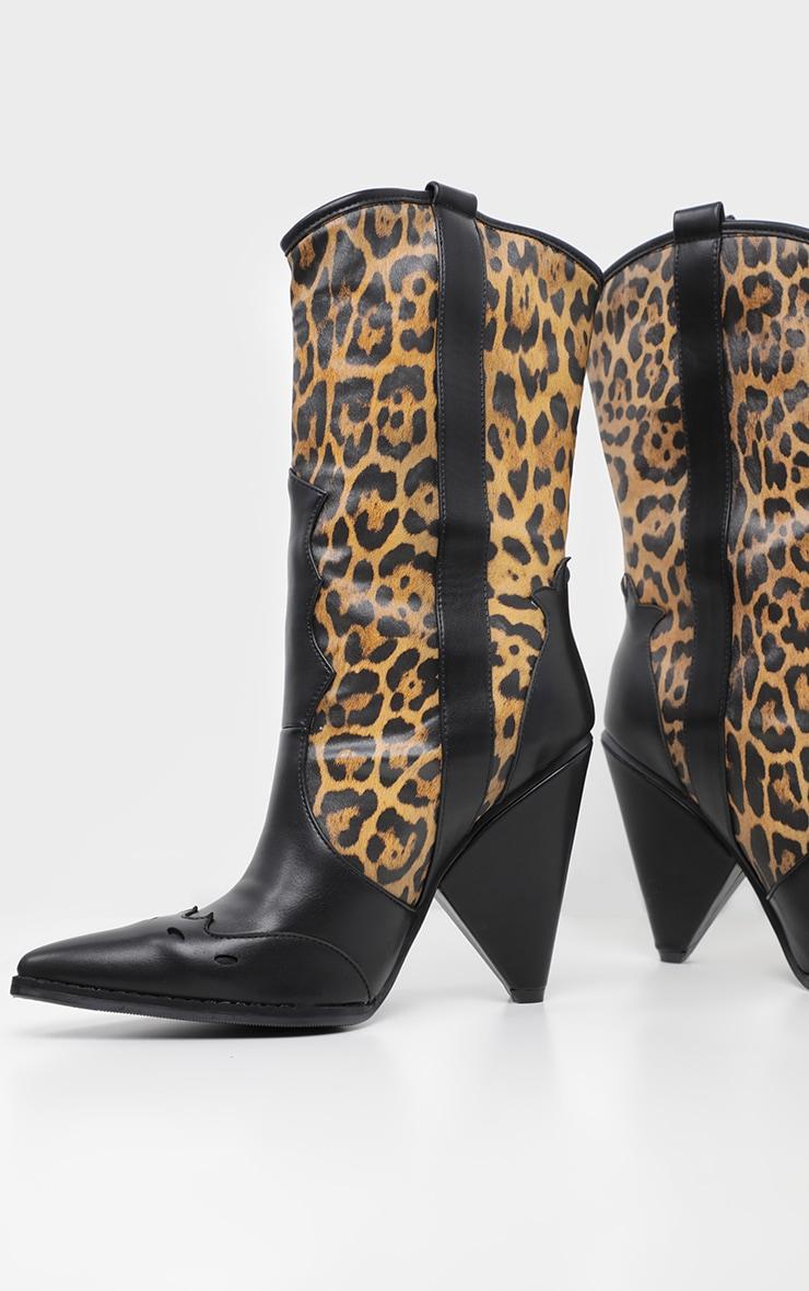 Leopard Ankle Western Cone Heel Boot 3