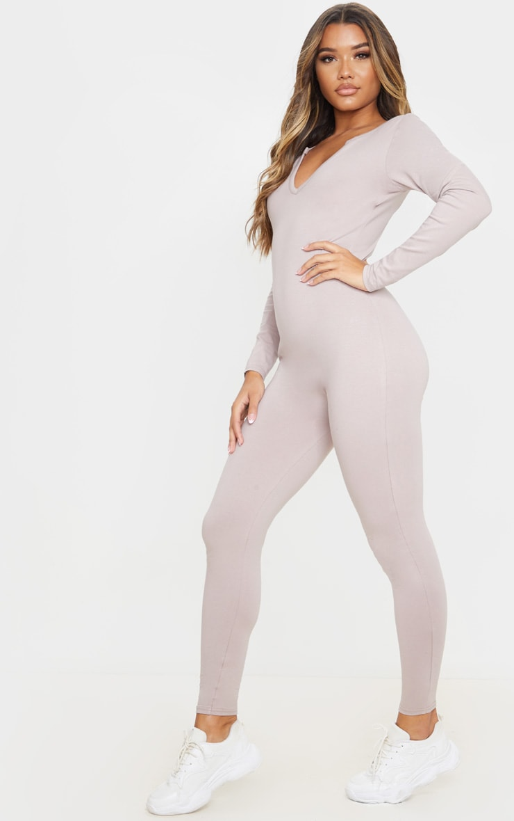 Pale Mauve Seamless Cotton Elastane V Neck Jumpsuit 4