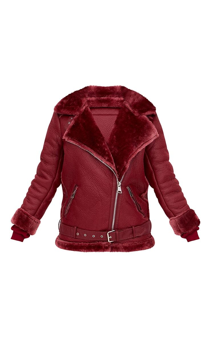 Burgundy PU Aviator Jacket 3