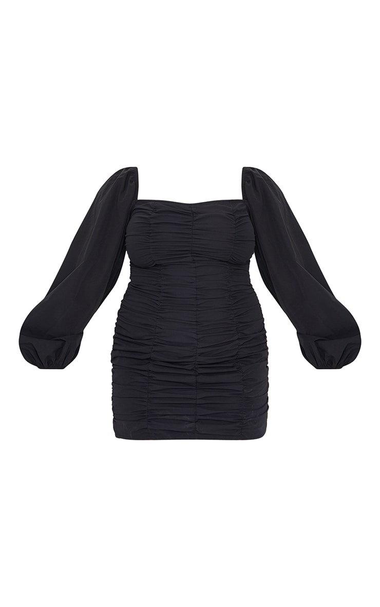 Plus Black Balloon Sleeve Ruched Bodycon Dress 5