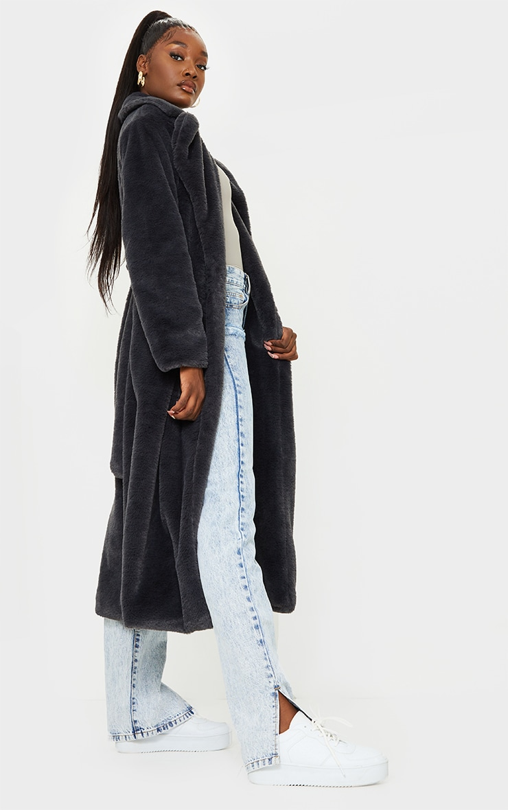 Tall Grey Belted Faux Fur Coat 3