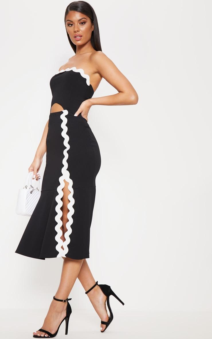 Monochrome Bandeau Flute Hem Midi Dress 4