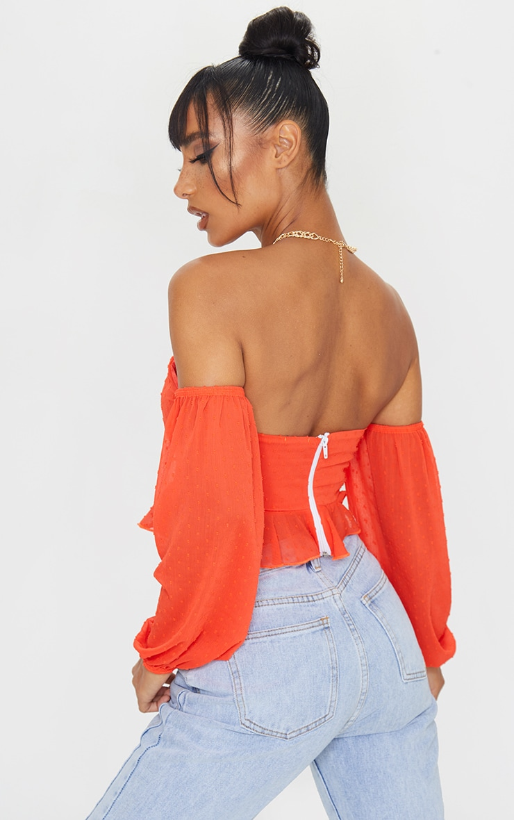Burnt Orange Dobby Mesh Bardot Frill Hem Crop Top 2