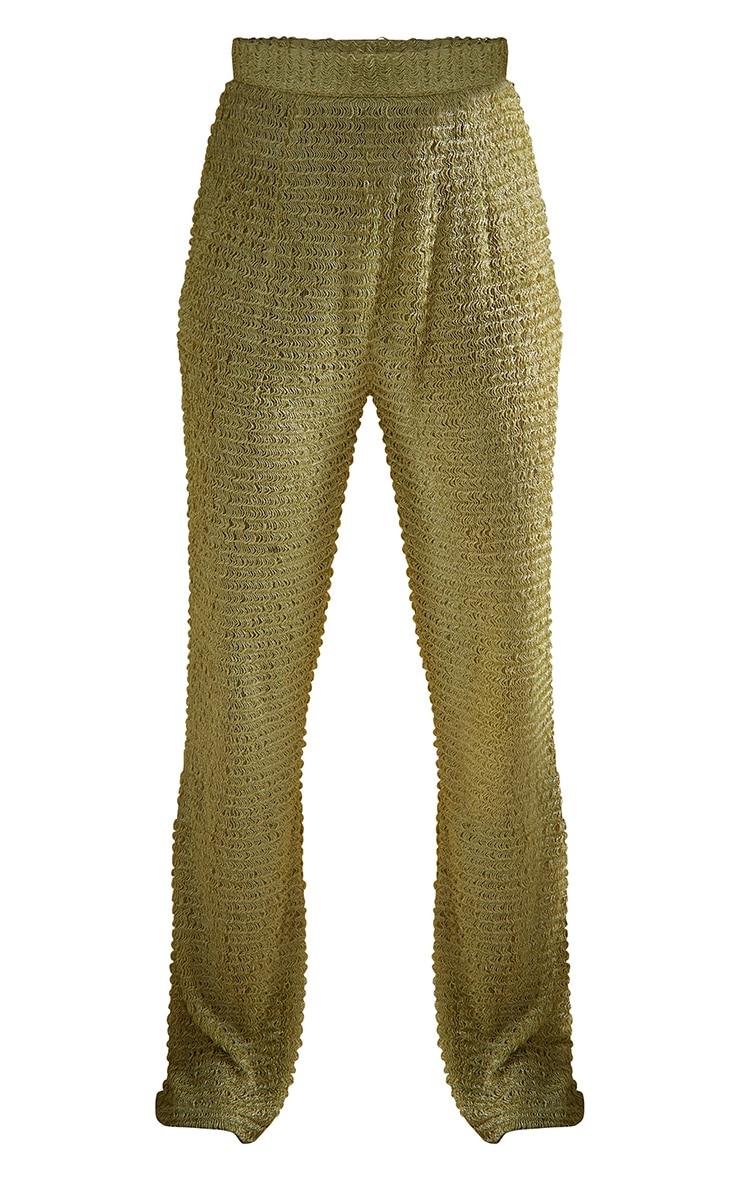 Green Textured Beach Trousers 5