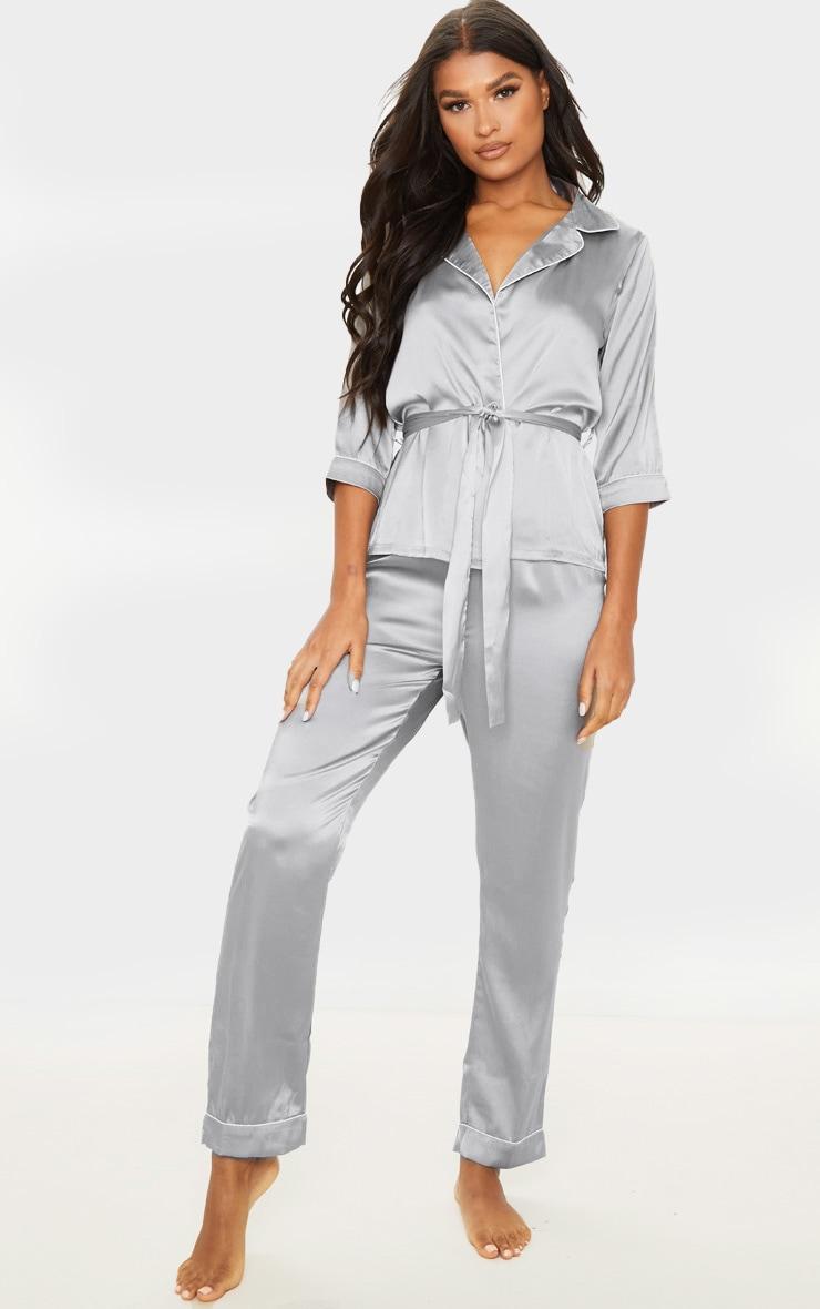 Grey Satin Wrap Kimono PJ Set 1