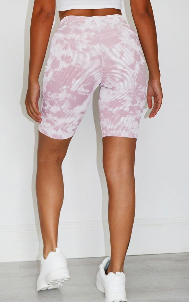 Petite Lilac Tie Dye Ribbed Cycle Short 3
