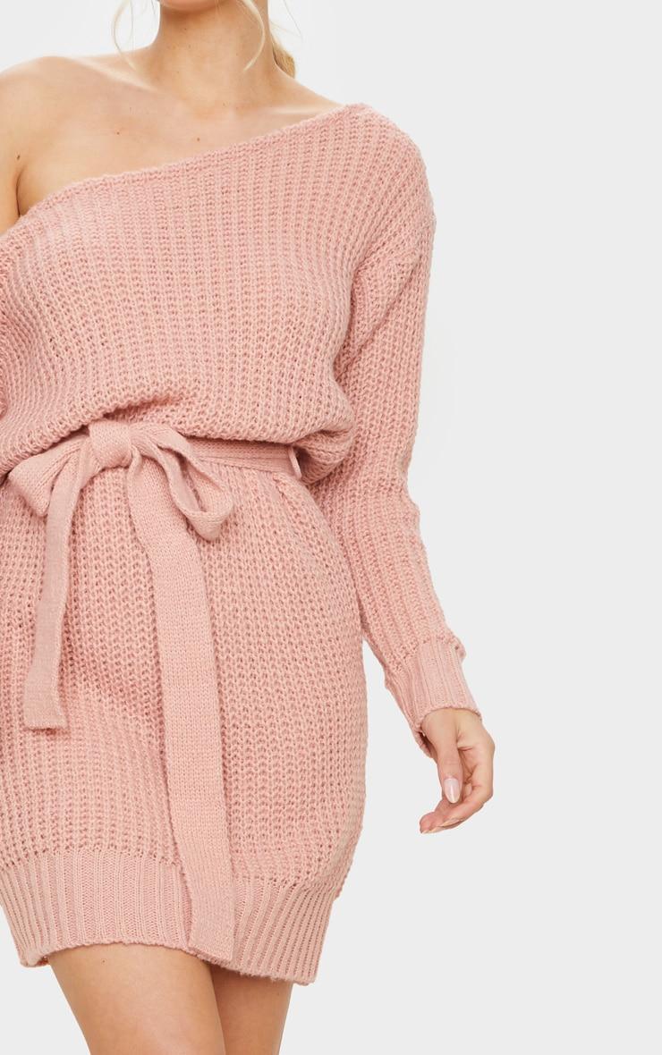 Blush Slash Neck Soft Belted Jumper Dress 4