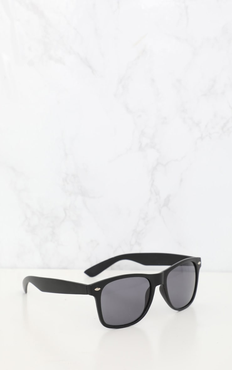 Black Basic Rounded Lens Sunglasses 2