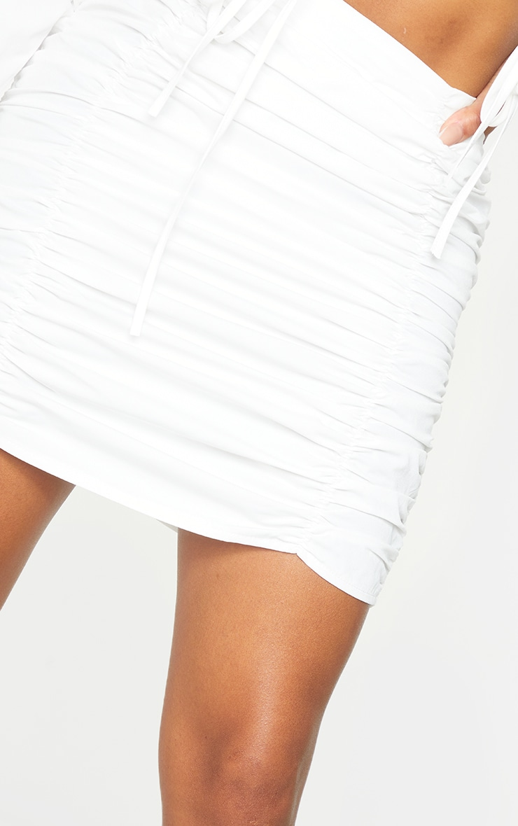 Shape White Ruched Bodycon Skirt 5
