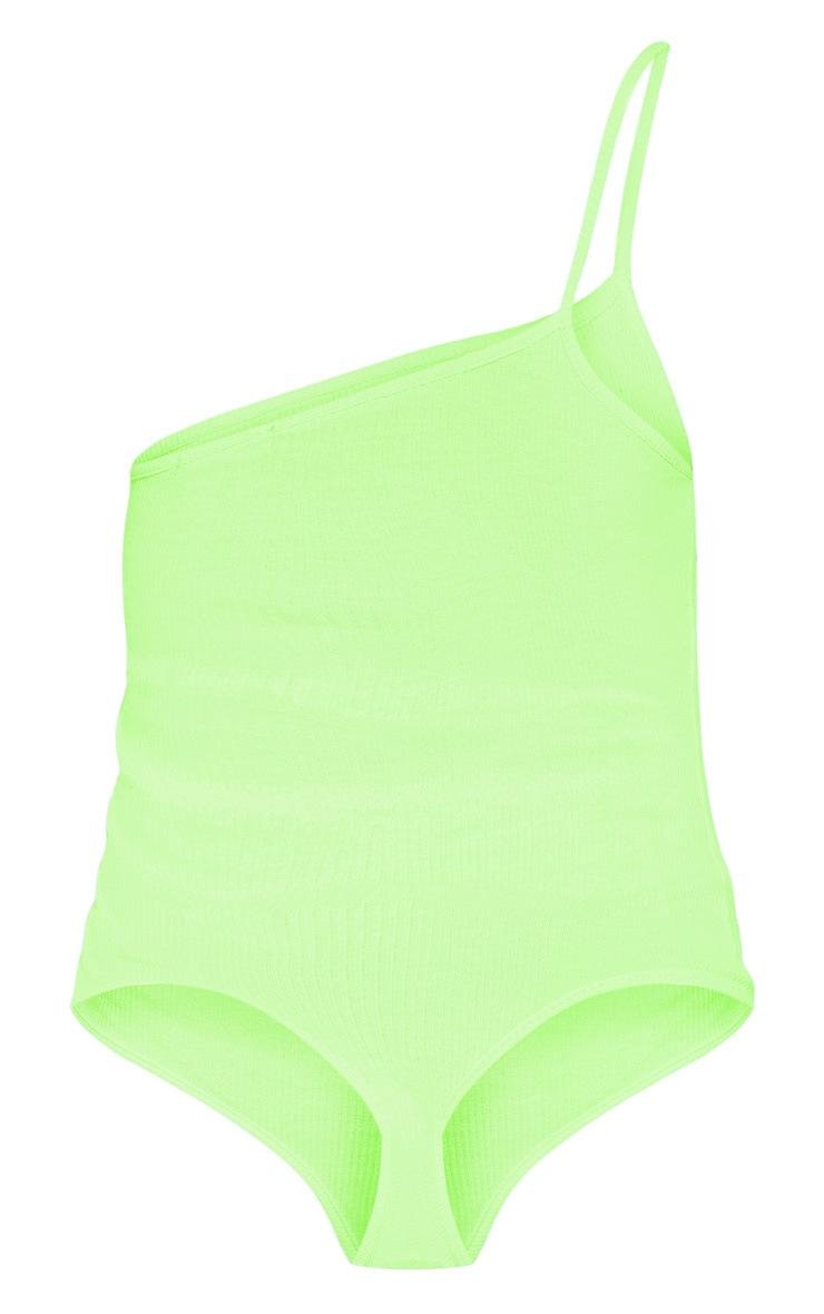 Petite Neon Lime Asymmetric Single Strap Thong Bodysuit 5