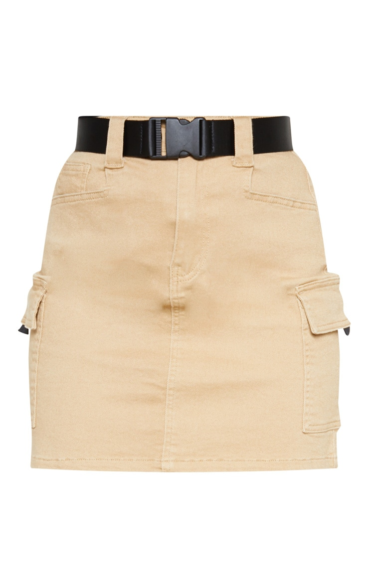 Stone Cargo Pocket Belted Denim Skirt 3