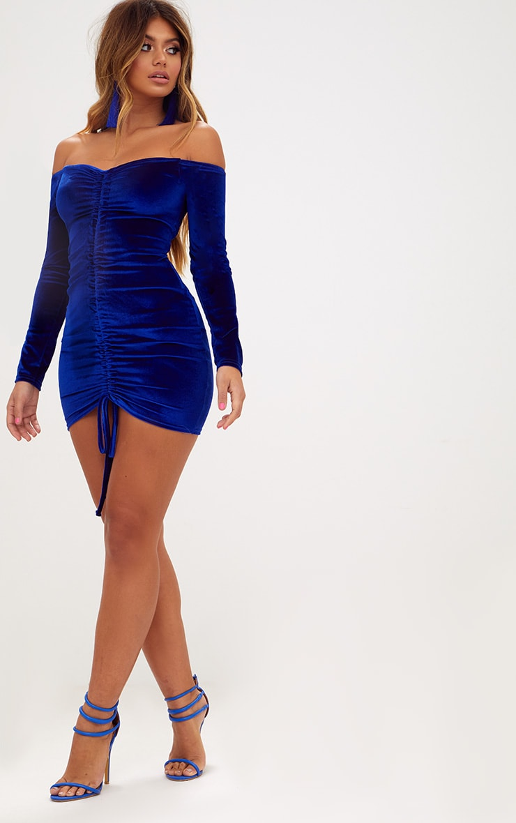 Blue Velvet Bardot Long Sleeve Ruched Bodycon Dress 4