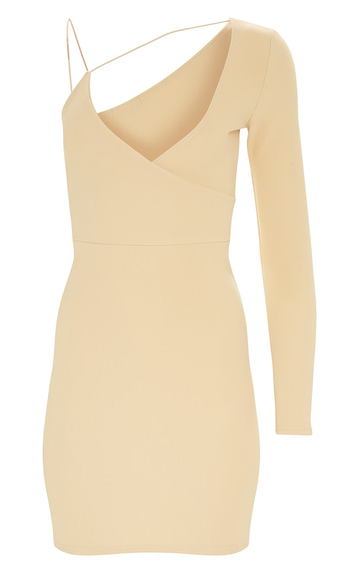 Nude Second Skin Asymmetric Strap Bodycon Dress 3