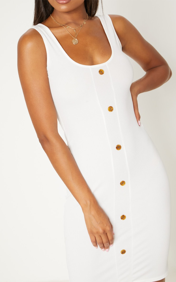 White Ribbed Scoop Tortoise Shell Button Down Bodycon Dress 5