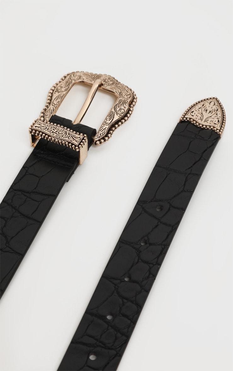 Black Croc Vintage Silver Buckle Western Belt 1