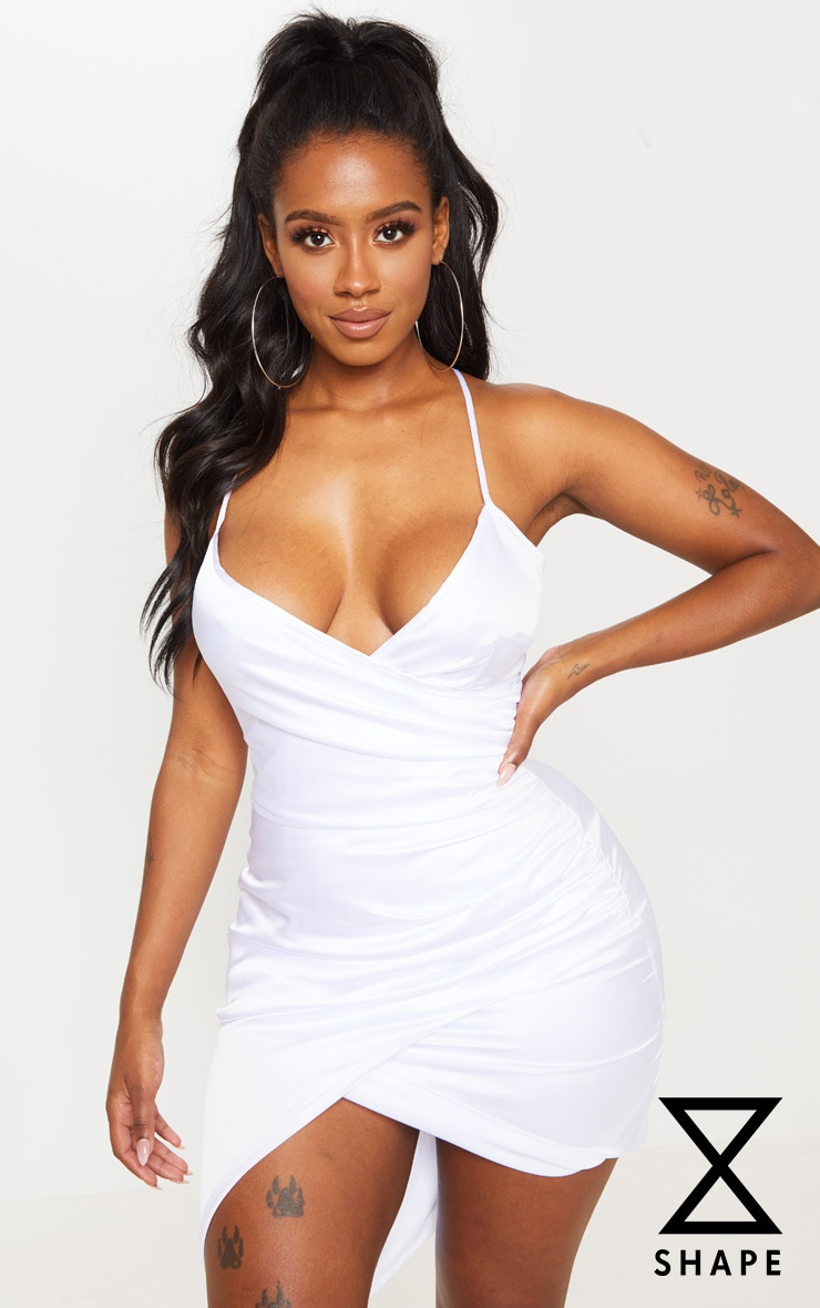 Shape White Satin Wrap Dress 1